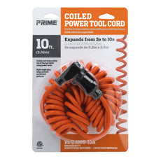 10ft 16/3 SJT Coiled Power Tool Extension Cord