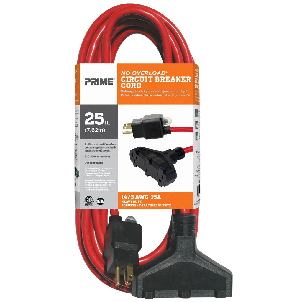 25ft 14/3 SJTW 3-Outlet <br />Outdoor Extension Cord <br />w/Circuit Breaker Plug