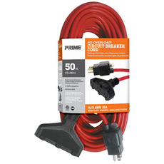 50ft 14/3 SJTW 3-Outlet <br />Outdoor Extension Cord <br />w/Circuit Breaker Plug