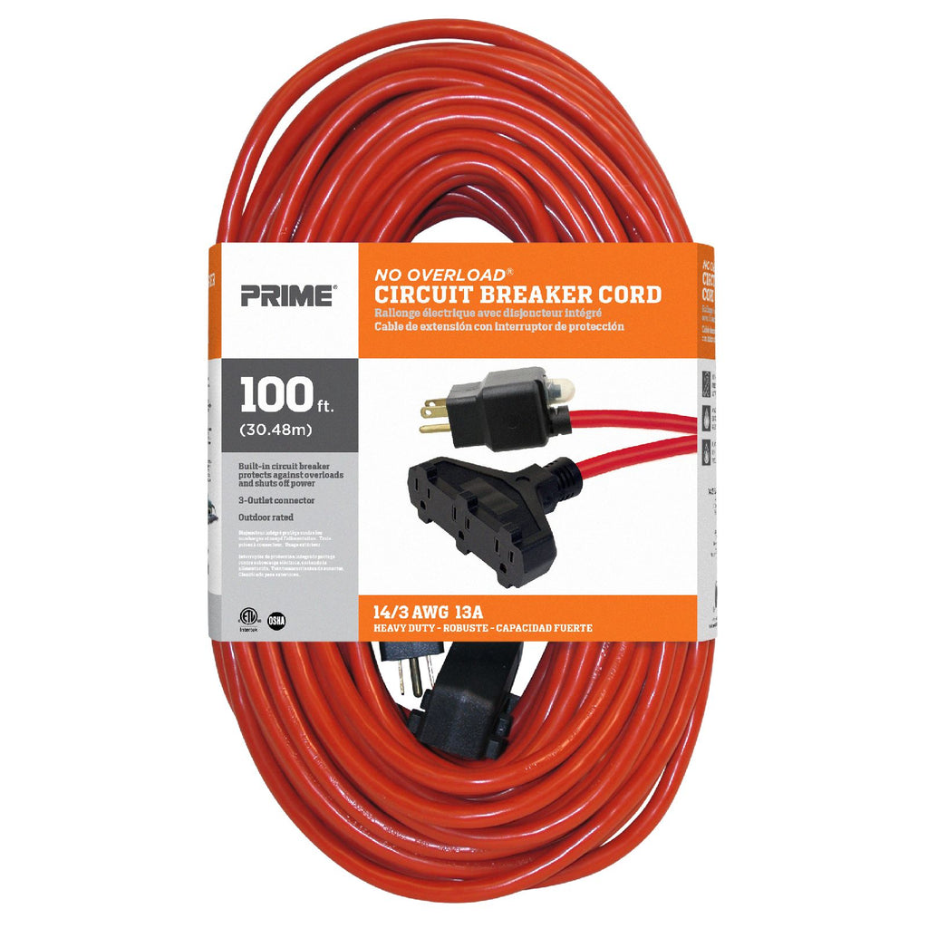 100ft 14/3 SJTW 3-Outlet <br />Outdoor Extension Cord <br />w/Circuit Breaker Plug