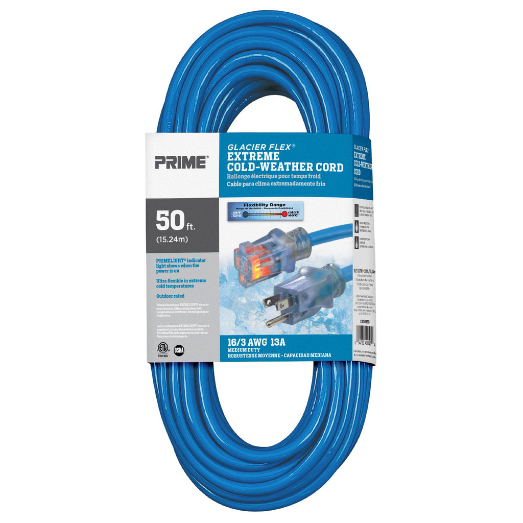 50ft 16/3 SJTW -50&deg;C <br />Glacier Flex® <br />Extreme Cold Weather <br />Extension Cord