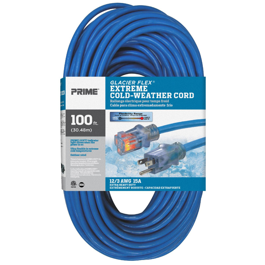 100ft 12/3 SJTW -50&deg;C <br />Glacier Flex® <br />Extreme Cold Weather <br />Extension Cord