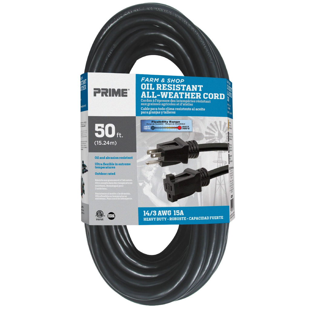50ft 14/3 SJTOW Farm & Shop <br />Oil Resistant Extension Cord