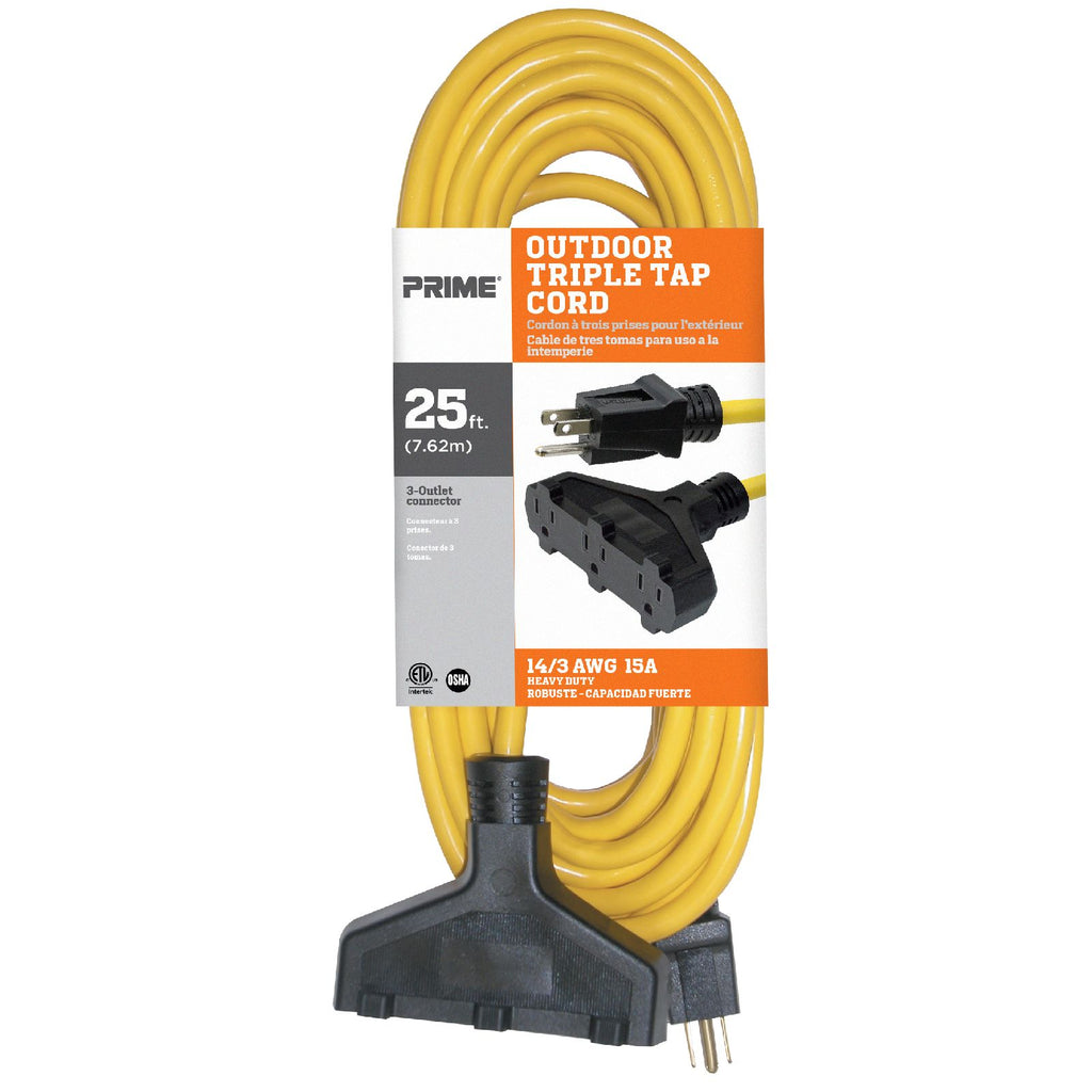 25ft 14/3 SJTW 3-Outlet <br />Outdoor Extension Cord