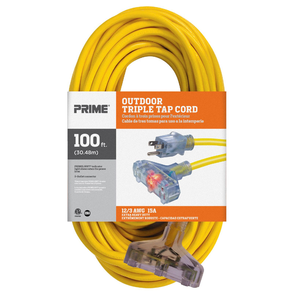 100ft 12/3 SJTW Jobsite® <br />3-Outlet Extension Cord