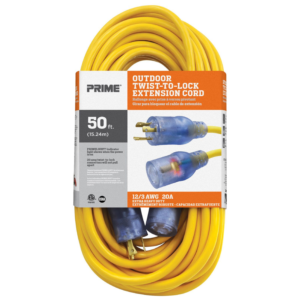 50ft 12/3 SJTW  Twist-to-Lock <br />Outdoor Extension Cord