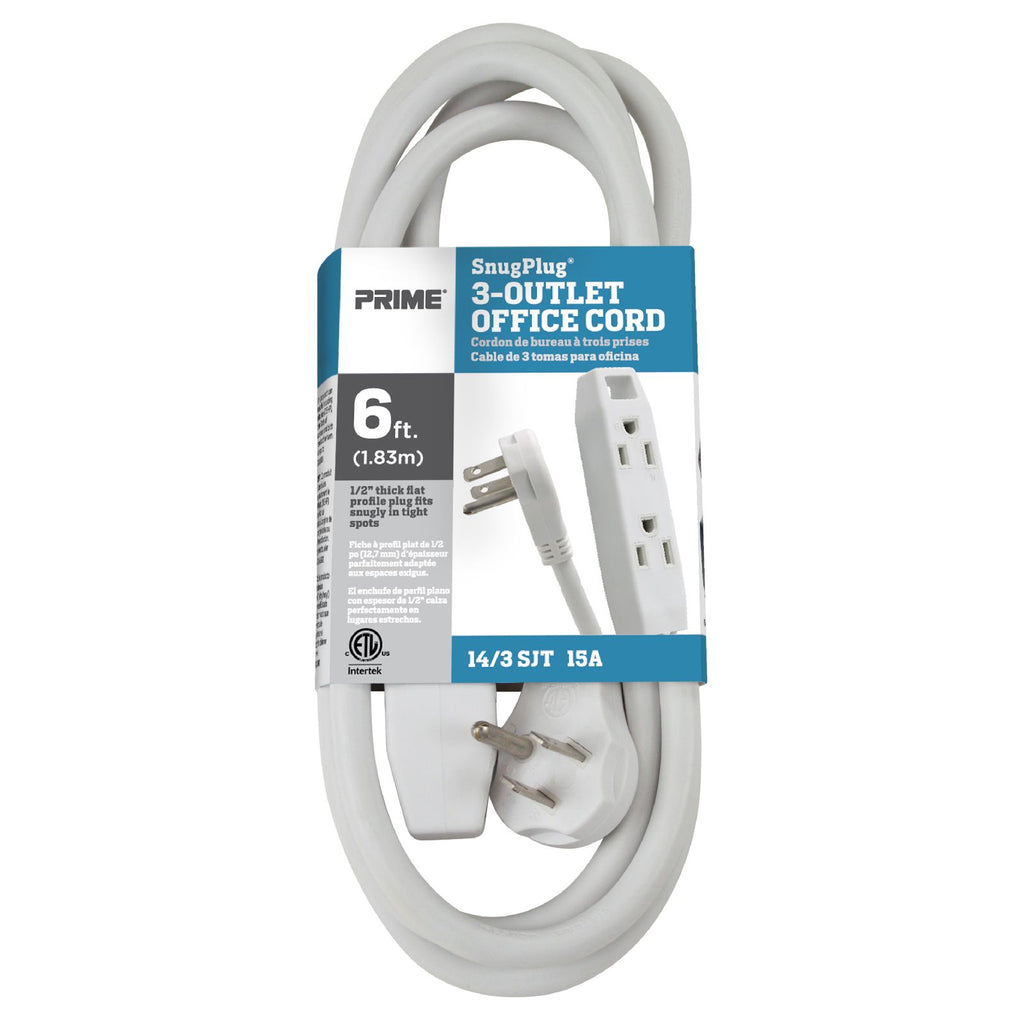 Prime Wire /& Cable EC974612K 12-Foot 16//3 SJT 3-Outlet Office Cord with ln-Line Switch Beige Inc.