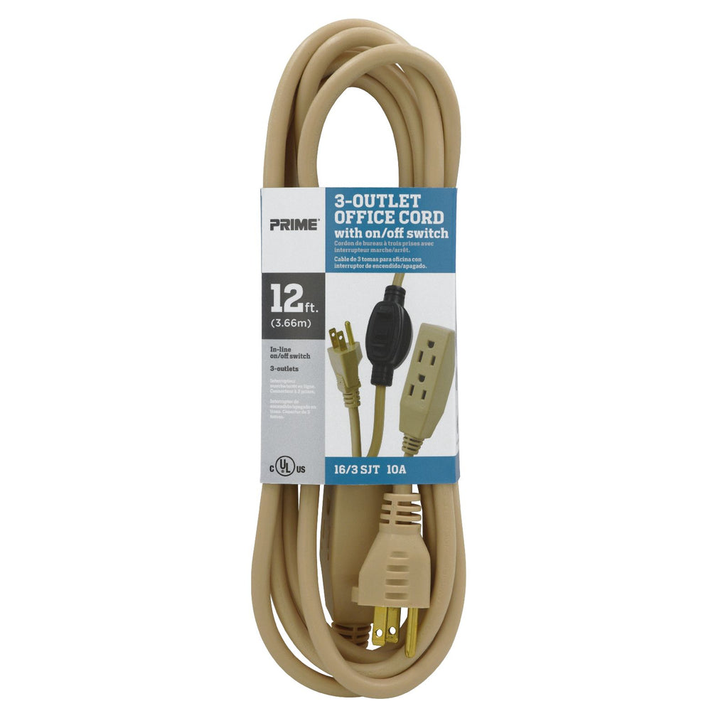 12ft 16/3 SJT 3-Outlet Office Cord w/In-Line Switch