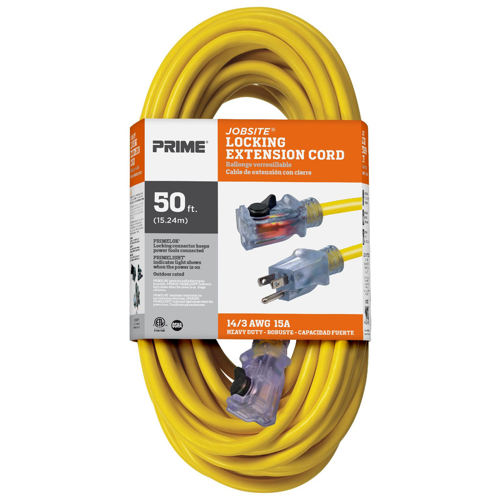 50ft 14/3 SJTW Jobsite® <br />Outdoor Extension Cord <br />w/Locking & Lighted Connector