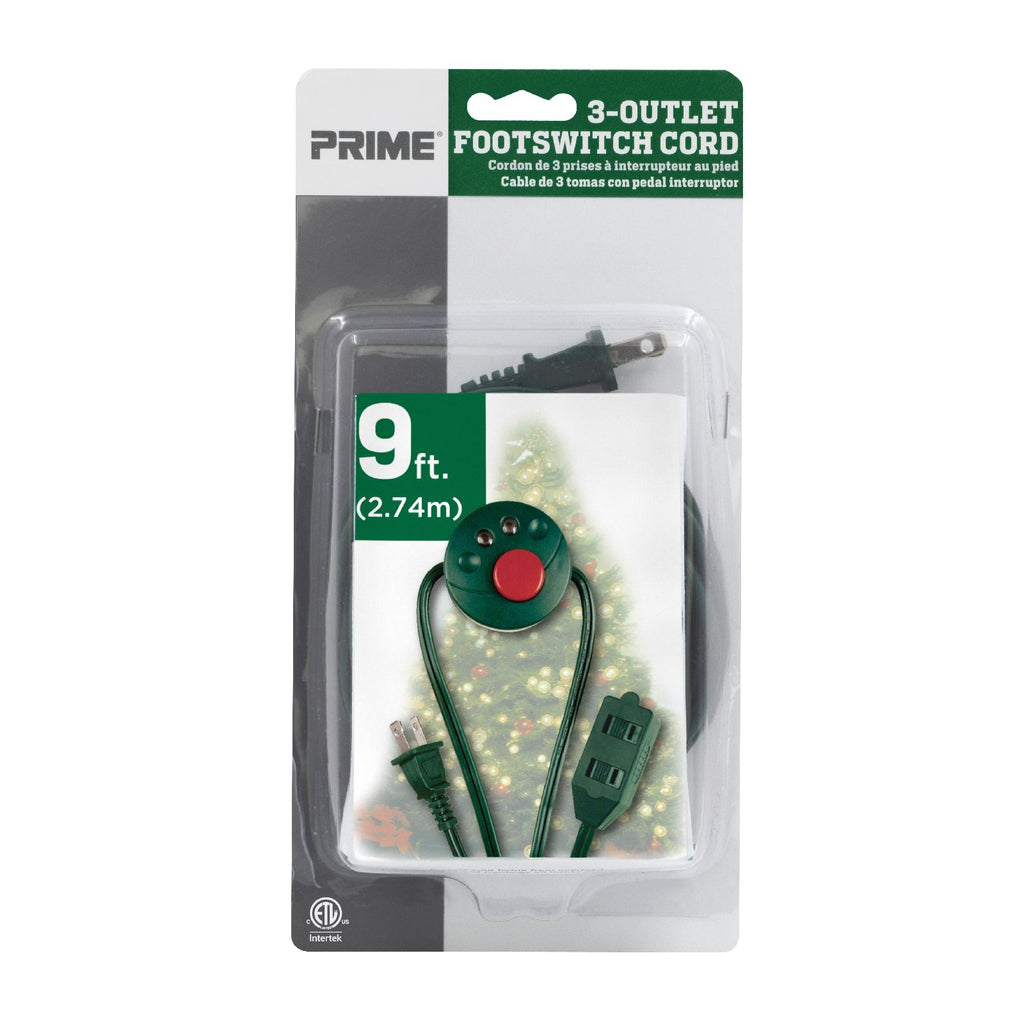 9ft 16/2 SPT-2 Green <br />3-Outlet Extension Cord <br />w/Lighted Footswitch