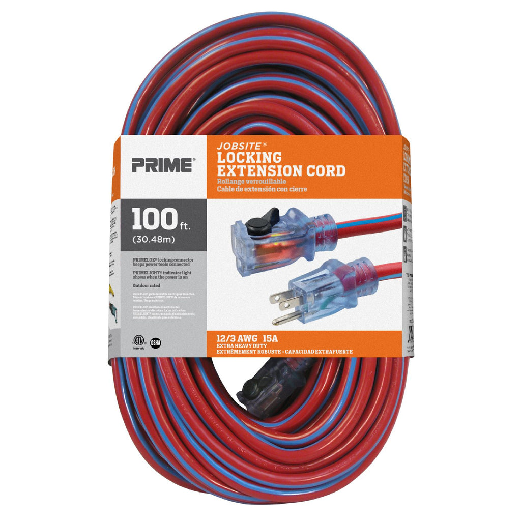 100ft 12/3 SJTW Jobsite® <br />Outdoor Extension Cord <br />w/Locking & Lighted Connector