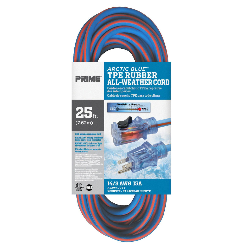 25ft 14/3 SJEOW <br />Arctic Blue™ All-Weather <br />Locking Extension Cord