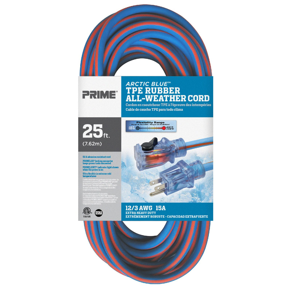 25ft 12/3 SJEOW <br />Arctic Blue™ All-Weather <br />Locking Extension Cord
