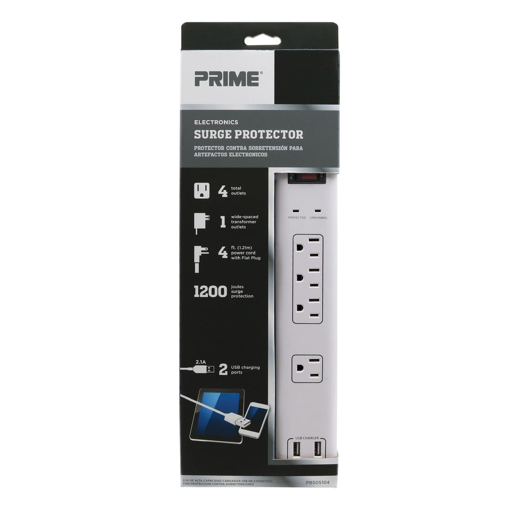 4-Outlet 1200 Joule <br />Multimedia Surge Protector <br />w/2-Port USB Charger
