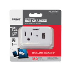 1-Outlet 150 Joule Surge Tap <br /> w/1-Port 2.4A USB Charger