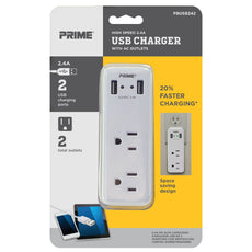 2-Outlet 2-Port <br />2.4A USB Charger