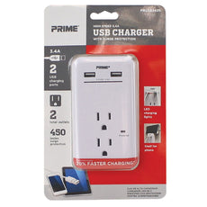 2-Outlet 450 Joule Surge Tap <Br /> w/2-Port 3.4A USB Charger