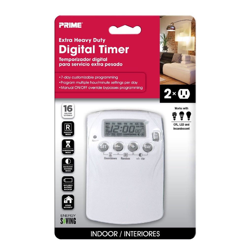 2-Outlet Heavy Duty 7-Day Digital Indoor Timer w/16 Programs