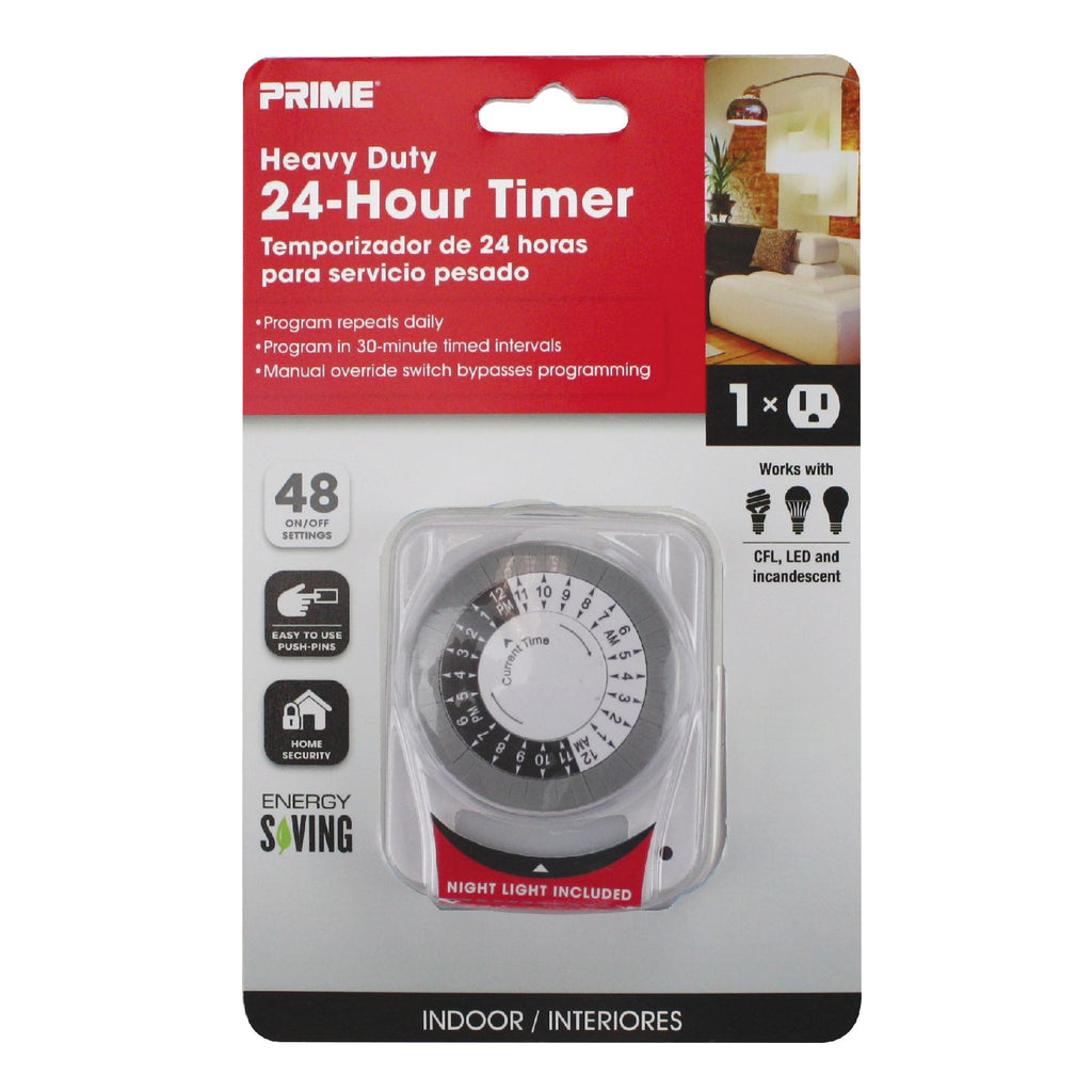 1-Outlet Indoor 24hr Timer w/Photocell Nightlight