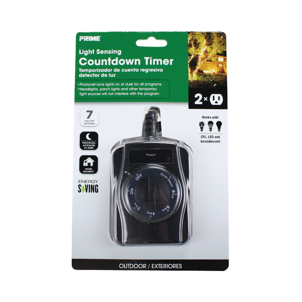 2-Outlet Outdoor Countdown Timer w/Photosensor