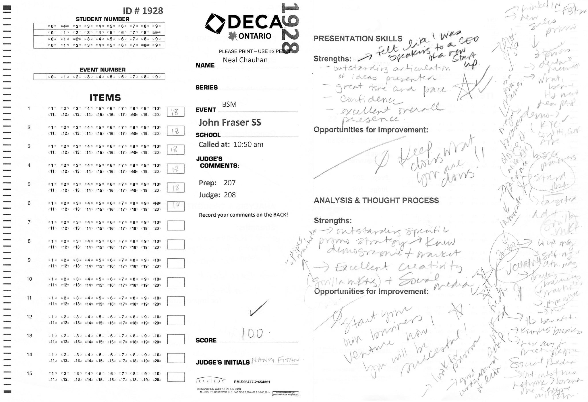 DECA Perfect Scoresheet | Neal Chauhan
