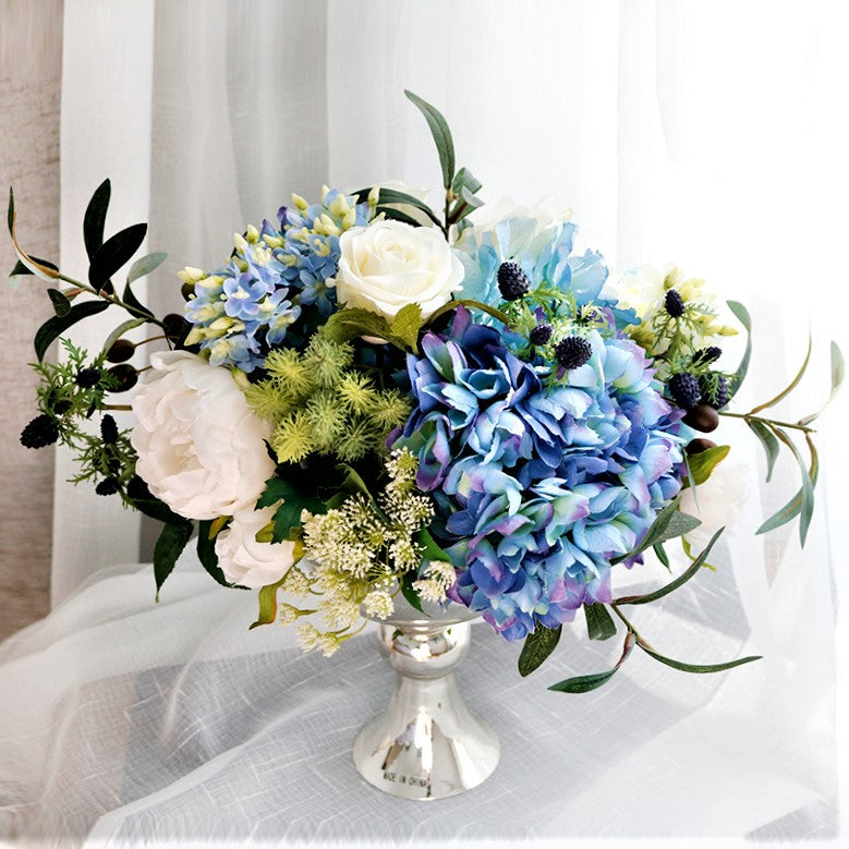 Blue and white hydrangea peony rose and lilac silk flower blue and white hydrangea peony rose and lilac silk flower arrangement in vase mightylinksfo