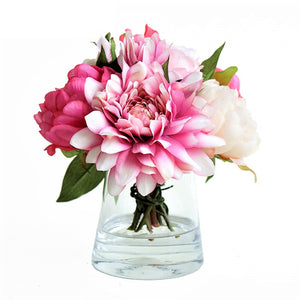 Pink peony silk flower arrangement with faux water dreamew pink peony silk flower arrangement with faux water mightylinksfo