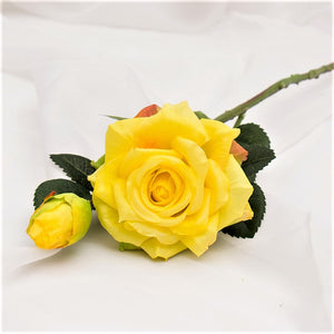 Yellow Real Touch Open Hybrid Rose 19in Tall Artificial Yellow