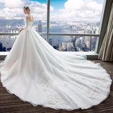 Appliques Flower Ball Gown Ivory Wedding Dress, Wedding Dress, La.Ma.Cosmetics, La.Ma.Cosmetics - La.Ma.Cosmetics