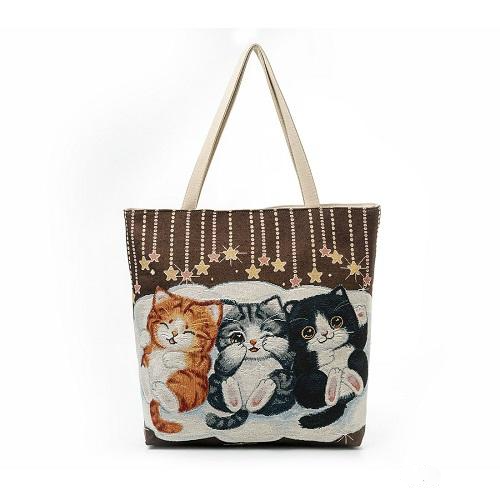 Cats Print Canvas Shoulder BG - Dedicated to cat people, Bag, La.Ma.Cosmetics, La.Ma.Cosmetics - La.Ma.Cosmetics