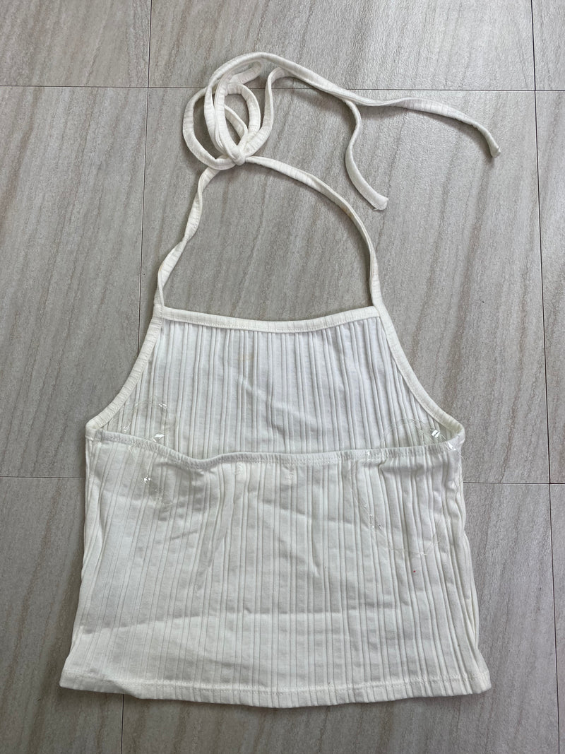 *Defective* Alexis Halter Top (White)