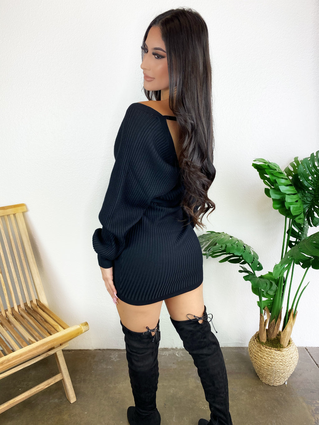 Sandra Sweater Dress (Black)