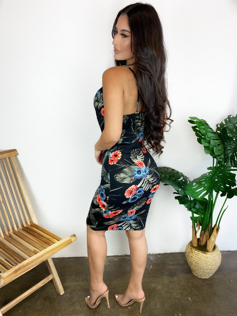 Sophia Floral Dress (Black)