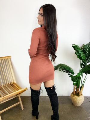 Gina Turtleneck Dress (Terra Cotta)