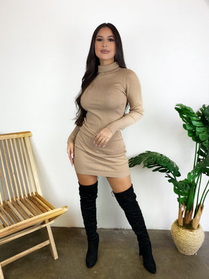 Gina Turtleneck Dress (Taupe)