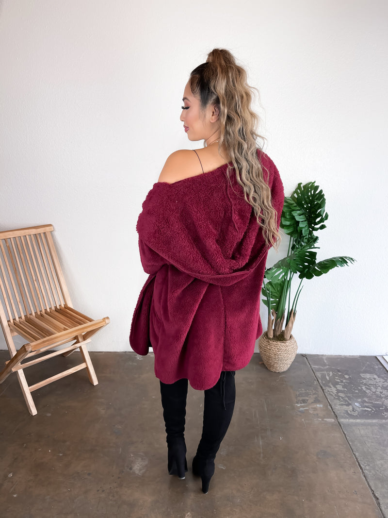 Hooded Teddy Cardigan (Burgundy)