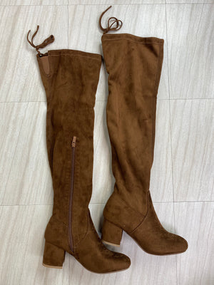 *Defective* Lucy Thigh High Heeled Boots (Chestnut)