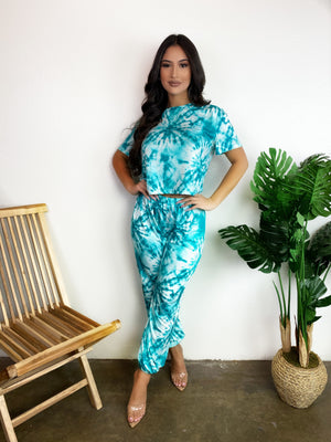 Stacey Tie Dye Set (Teal)