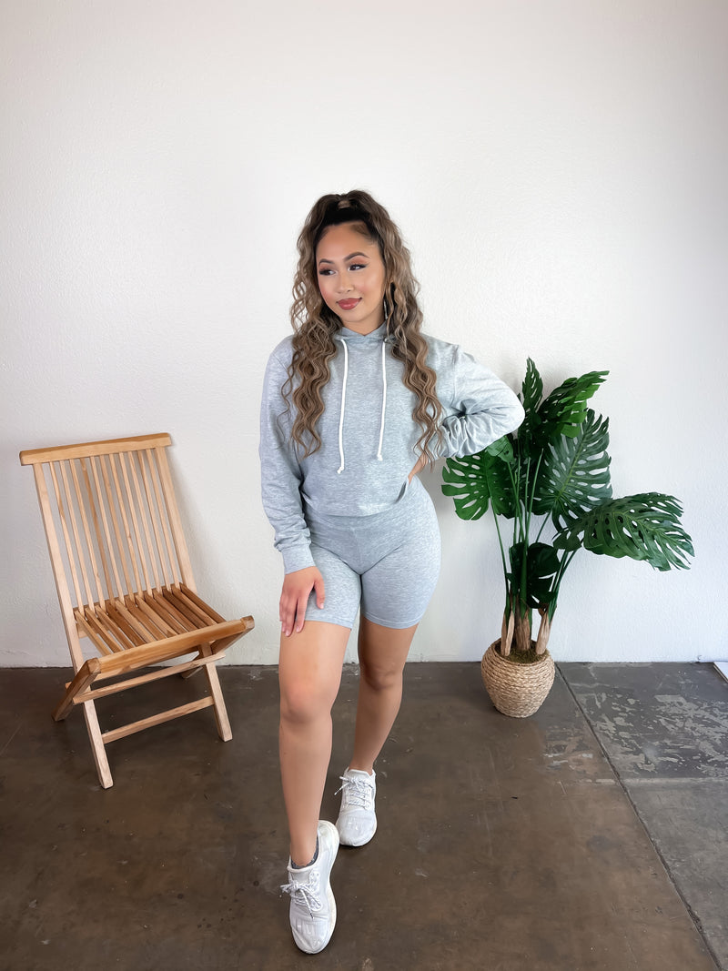 Khloe Hoodie Set (Heather Grey)