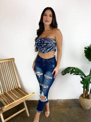 Bandana Tube Top (Navy)