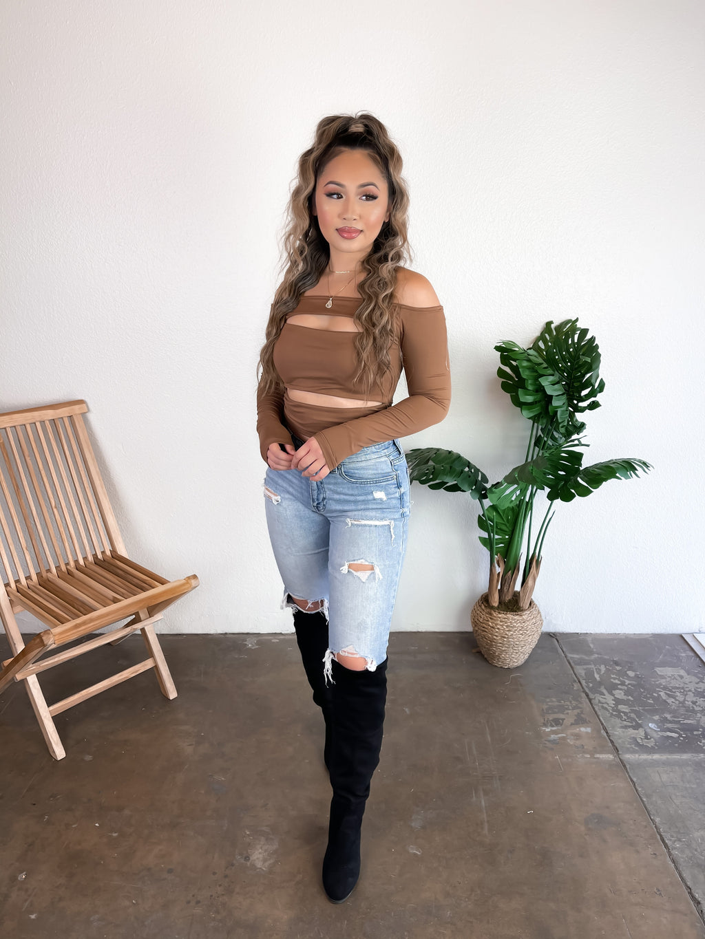 Peekaboo Off the Shoulder Top (Brown)