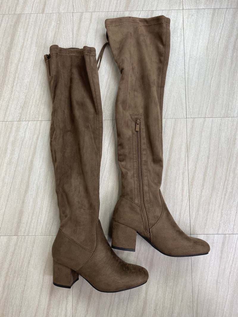 *Defective* Lucy Thigh High Heeled Boots (Taupe)