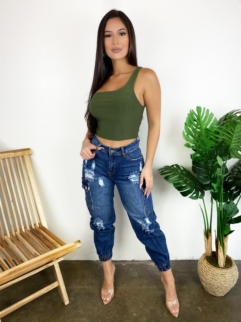 Kayla One Shoulder Top (Sage)