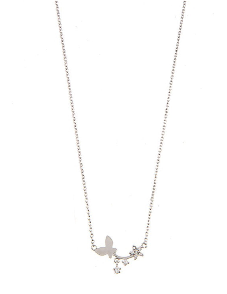 Ameera Butterfly Necklace (Silver)