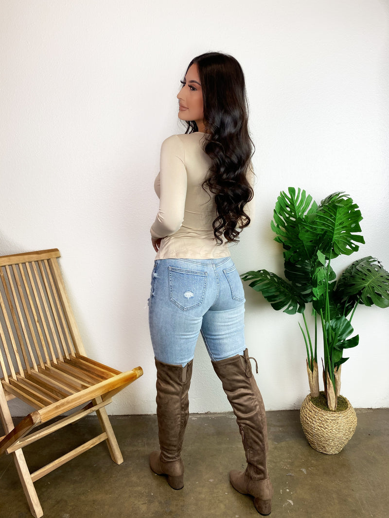 Lucy Thigh High Heeled Boots (Taupe)