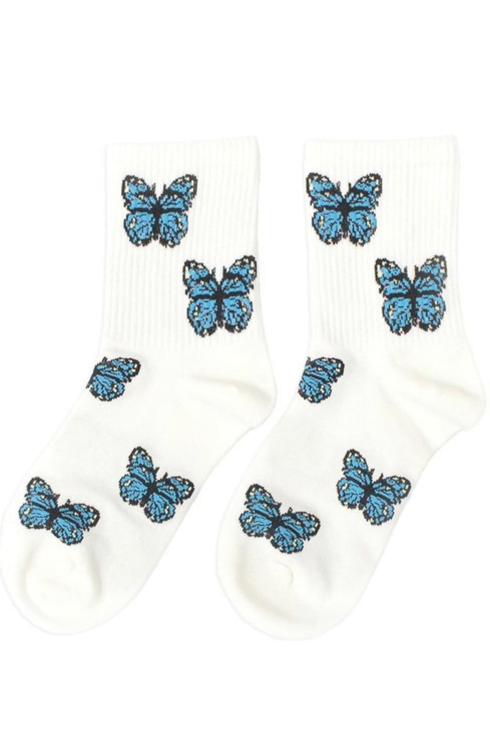 Cutie Butterfly Socks (White)