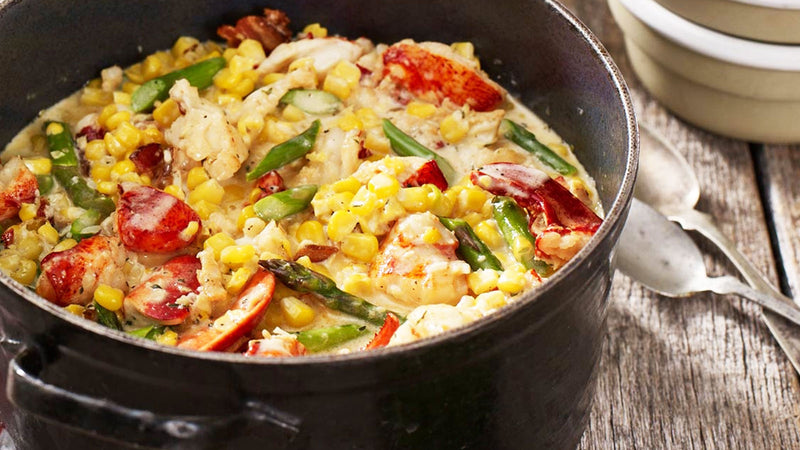 Fresh Corn Succotash with Maine Lobster and Asparagus