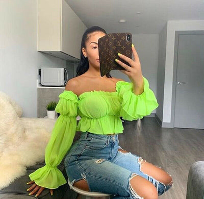 Chiffon Off Shoulder Slash Neck top