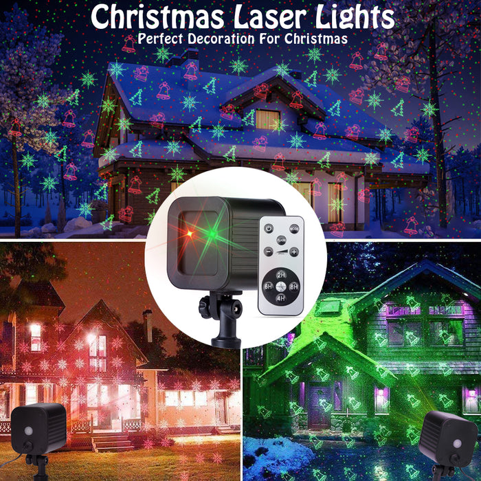 Led Decorative Projector Christmas Laser Lights 4 Patterns Snow Santa Plug in Night Lights for Indoor Outdoor Xmas Halloween Holiday Party with Remote Control Timer Red and Green