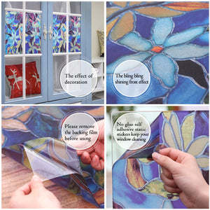 Window Film Flower Style Privacy Decoration Self Adhesive for UV Blocking Heat Control Glass Stickers
